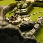 un char russe face au force US